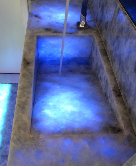 Blue Onyx Countertops : Chandler construction backlit stone sample materials and